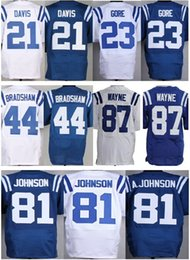 Wholesale Factory Outlet Cheap Vontae Davis Frank Ahmad Bradshaw Andre Johnson Reggie Wayne Football Jerseys