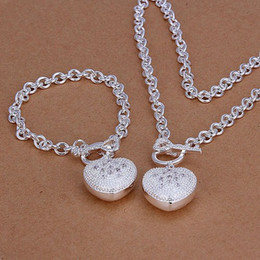 Wholesale hot sale sterling silver jewelry sets GS women s silver plated neckace bracelet set support retail mix order