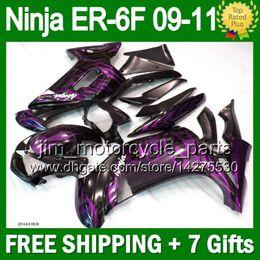 7gifts For KAWASAKI Purple flames NINJA 650R ER-6F 09-11 09 10 11 5T54 ER6F NINJA650 650 ER 6F Purple blk 2009 2010 2011 Fairing+Bodywork