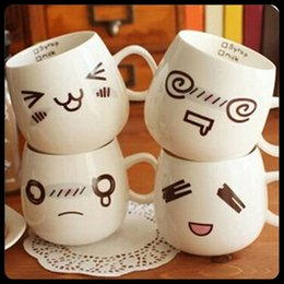 Wholesale 350ml Mugs Facial expression Ceramic cup Pieces Coffee Espresso cup Milk cup Best gift Drinkware Kitchen Dining Bar
