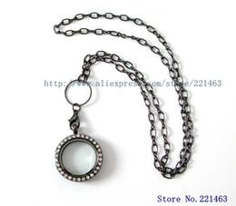 Free Shipping! 1 pc gun black rhinestone round floating locket with 60cm gun black necklace