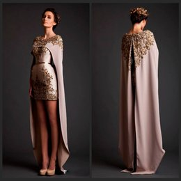Special Krikor Jabotian Two Piece Prom Dresses Crew Neck Applique with Bead Mini Length Detachable Shawl Long Train Formal Prom Gown