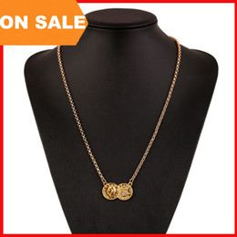 vintage coin necklace gold silver Head coin charm necklaces for women link chain hiphop necklaces statement jewelry 160306