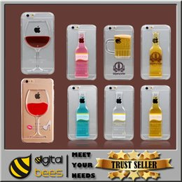 Wholesale Liquid Quicksand Case for iPhone s s plus Red Wine Cocktail Glass Beer bottle design for samsung s6 edge Transparent Back Cover