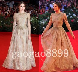 Wholesale Game of Thrones Vintage Gold Lace Long Sleeve Evening Dresses Amazing Luxury Shiny Keira Knightley Dresses Dubai Arabic Occasion prom Gown