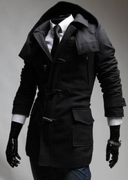 Fall-European men horn button overcoats turn-down collar black grey polyester cheap mens winter coats #151028_C674