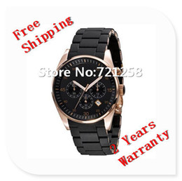 Wholesale free hk shipping _Absolute luxury New Mens Black and Gold Chronograph Watch AR5905 CHRONOGRAPH WRIST WATCH gift box NO