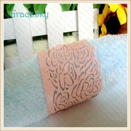 50Pcs lot Free ShippingTowel Buckle Laser Cutting Lace Leaf Design Paper Wedding Decorations Napkin Ring for Birthday Party Decoration