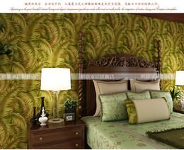 Modern 3D Southeast Asian Green Leaves Beautiful Sceneries Wallpapers Flower Sofa TV Background Wallpaper Yellow