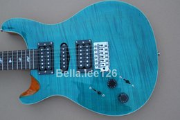 Wholesale Sky blue flame maple top guitars,hot selling music instrument Paul Smith left handed electric guitar