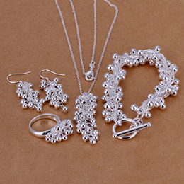 High grade 925 sterling silver Grape Set jewelry sets DFMSS303 brand new Factory direct sale 925 silver necklace bracelet earring ring