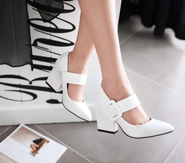 Wholesale Fashion Women Pumps Sexy Mary Jane Chunky High Heel Shoes Pointy Toe Leather Pumps black white red nude