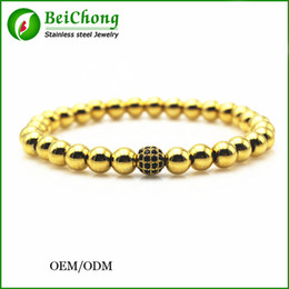 Wholesale BC Anil arjandas brand men bracelets K gold mm round beads mm Micro Pave Black CZ Beads Braiding Macrame Bracelet Fit Men BC