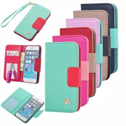 Wholesale Galaxy S6 edge S5 iPhone S plus S Splus cases Fly Bird Flip Wallet Case Cover Leather case Mirror Card Slot
