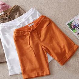 Wholesale-M-4XL Plus Size Linen Cotton Loose 2015 Summer New Shorts Women Short Feminino Casual Female Clothing Ladies Shorts Candy Colors