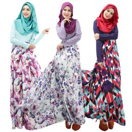 2016 New Fashion Floral Print Muslim Dresses Arab Women Robes Long Islamic Ethnic Clothing Middle East Casual Dress Junj025