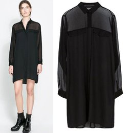 SZ270 Hot Woman's Blouses European and United States Fashion Solid Color Long Sleeve Shirt Dress Tops Blusas Femininas