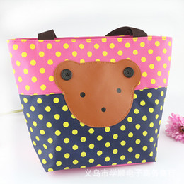 Wholesale Women Girls Lovely Handbags Korean Cartoon Little Bear Cute Package Fashion Dot Patchwork Lunch Bags Canvas Casual Totes Colors