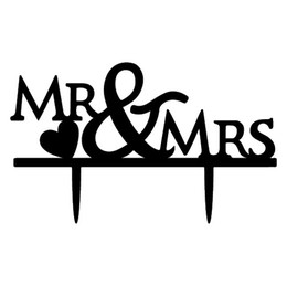 Wholesale Black Acylic Engaged Cake Topper Personalized Mr Mrs Anniversary Cake Toppers Bridal Cake Toppers Cake Top Wedding Supplies New