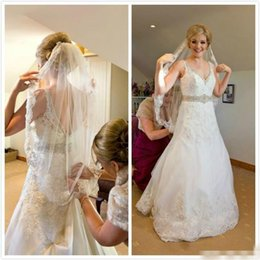 Wholesale Allure Mermaid Wedding Dress Spaghetti Lace Appliques Beads Backless Sweep Train Bridal Gowns Trendy Design