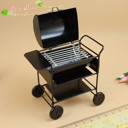 Wholesale 1 Scale Dollhouse Miniature BBQ Stove Grill Outdoor Barbeque Lovely Barbecue Doll House Yard Decoration Accessory