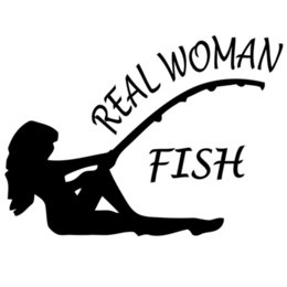 Wholesale real woman fish hunting fishing trout salmon bass car window sticker vinyl decal funny JDM and all the smooth surface