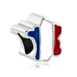 Wholesale Proud To Be France Flag Country Of France Map national European spacer bead metal charm bracelets Pandora Chamilia Compatible