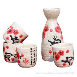 5 Piece Ceramic Japanese Sake Set Elegant Sake Bottle and Cup Gift Set Cherry Blossom Floral Design