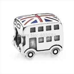 Wholesale 925 Sterling Silver Jewelry Charm UK Flag Double deckBus European Floating Charms Silver Beads Fit Snake Chain DIY Bracelet