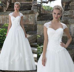 Wholesale Justin Alexander Lace Wedding Dresses Queen Anne Neckline Detachable Lace Cap Sleeves Court Train Bridal Gowns Fall Winter