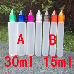 Bottles 30ml PE E Liquid Bottle with Colorful Child Proof Caps and Long Thin Tips Pen Shape Bottle