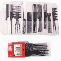 Hot Sale Plastic Hair Comb Set Black Color 10piece Contain PVC pouch Packing 120 sets per Lot DHL Free Shipment