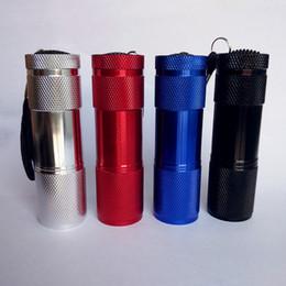 DHL shipping 9LED Aluminium Mini Portable UV Ultra Violet Blacklight 9 LED Flashlight Torch Light 500PCS