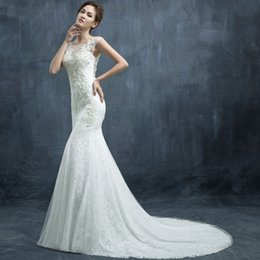 Wholesale 2015Shoulder bridal dress new fashion Korean winter Slim fishtail trailing big yards diamond zipper