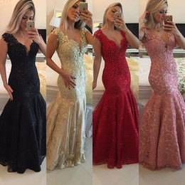 Evening Dresses 2016 Elegent V Neck Full Lace Beads Cap Sleeves Mermaid Floor Length Black Red Long Formal Cheap Party Dress Prom Gowns