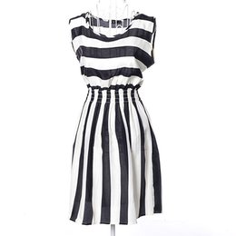 1PC Summer Women Ladies Casual Chiffon Sleeveless Striped Beach Dress
