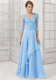Elegant Evening Dresses 2015 Vestidos V-Neck Sleeve Crystal Applique Formal Evening Gowns Chiffon Long Dress