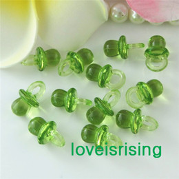 Wholesale Tracking number pack mm mm Clear Light Green Mini Acrylic Baby Pacifier Baby Shower Favors Cute Charms Party Decorations