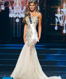 Wholesale Bling Pageant Dresses for Women Beauty Miss USA Sweetheart with Straps Crystal Rhinestone Sexy Backless White Prom Gowns Formal Wears