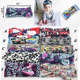 Wholesale 10 color Girls Bow Headband Bohemian bunny Hairband lepoard flower printed Baby inch u pick color