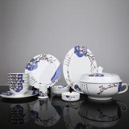 Wholesale Kitchen Dinnerware Sets Cutlery set new bone china tableware Korean Spring Hannaford porcelain Jingdezhen Ceramic Cutlery Set
