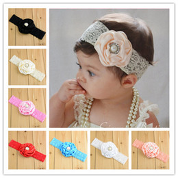 Infant Flower Pearl Headbands Girl Lace Headwear Kids Baby Photography Props NewBorn Bow Hair Accessories Baby Hair bands Bandanas