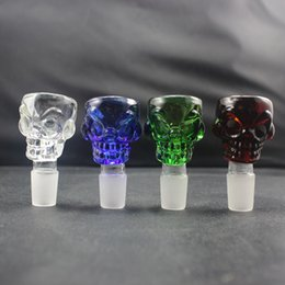 7mm thickness Skull Design Glass Bowl 18.8mm & 14.5mm Male joint with Various Colors fit for Glass Bongs Glass bubblers