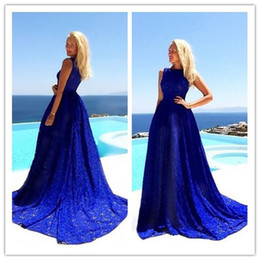 Blue Lace Evening Dresses 2015 Crew Sleeveless A line Sweep Train Beach Garden Party Prom Dress Custom made