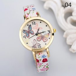 Wholesale New Fashion Watch Women Fine Strap Color Flower Musical Note Butterfly Watch Elegant Beautiful Girl Watch relogio Clock
