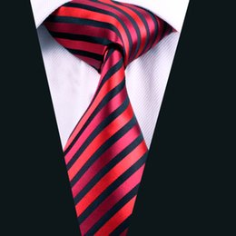 Business Red Black Stripe Tie for Men Silk Jacquard Woven Formal Meeting Necktie 8.5cm Width D-0219