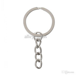 Wholesale-2015 new Key Chains & Key Rings Round Silver Tone 5.1cm x 24.0mm,100 PCs