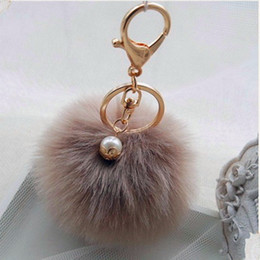 Wholesale Hot Sales chaveiro keychain fur pom pom key chain Faux Rabbit Hair Bulb Bag Car Ornaments Fox fur Ball Pendant Key Ring GCF
