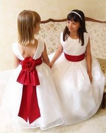 Cute White and Red Ball Gown Flower Girls Dresses Zipper Bow Sash 2016 Cheap Girls Pageant Dresses Little Kids Formal Gowns Custom Made