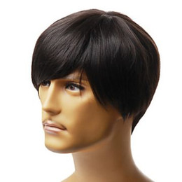 100% Human HAIR wig man wig style male fashion short style machine made wig RJ-0139